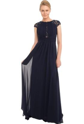 Pierre Cardin Lacivert Şifon Dantel İşlemeli Uzun Abiye Elbise