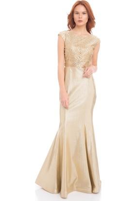 Pierre Cardin Gold Taşlı Sırt Dekolteli Balık Abiye Elbise