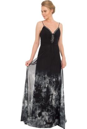 Pierre Cardin Siyah Tüllü Desenli Uzun Abiye Elbise