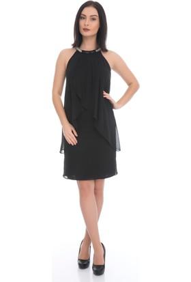 6IXTY8IGHT Siyah Yakası Taşlı Kısa Şifon Abiye Elbise