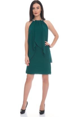 6IXTY8IGHT Yeşil Yakası Taşlı Kısa Şifon Abiye Elbise