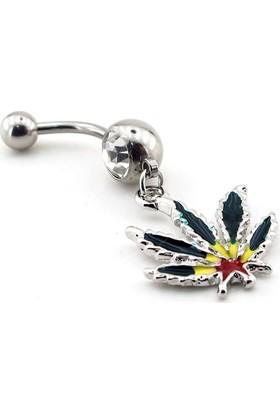 Solfera Renkli Cannabis Yaprak Çelik Göbek Piercing P423