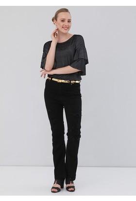 Rmg Bayan Büyük Beden Bol Paça Yırtıklı Pantolon Siyah