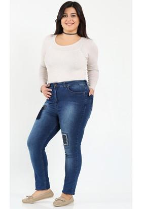 Rmg Yama Detaylı Taş İşlemeli Kot Pantolon Lacivert