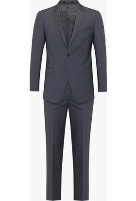 Hateko Füme Zemin Açık Mavi Çizgili Takım Elbise