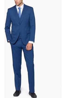 Hateko Üç Parça Yelekli Kendinden Nokta Desenli Mavi Kareli Takım Elbise