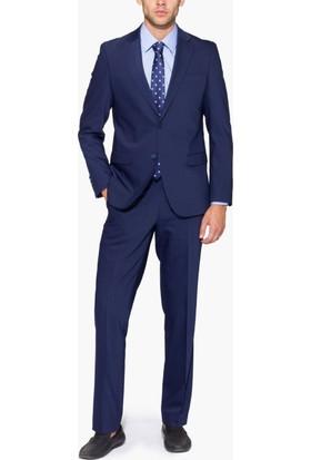 Hateko Altınyıldız Slim Fit İndigo Mavi Takım Elbise