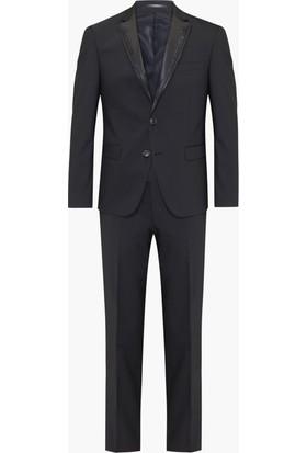 Hateko Altınyıldız Super Slim Fit Siyah Simli İnce Şerit ve Küçük Nokta Boncuk Detaylı Yaka Siyah Smokin Damatlık