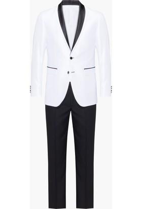 Hateko Super Slim Fit Siyah Saten Yaka Detaylı Beyaz Smokin Damatlık