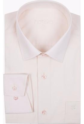 Hateko Açık Somon Rengi Klasik Kesim Erkek Takım Elbise Gömleği