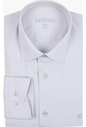 Hateko Açık Gri Dar Kesim Erkek Takım Elbise Gömleği