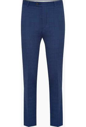 Hateko Klasik Kesim Kareli Desen Mavi Erkek Kumaş Pantolon