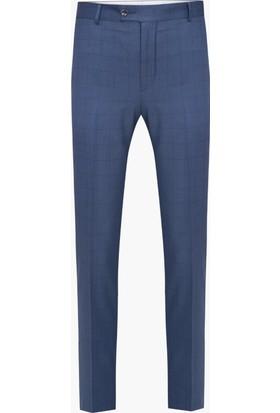 Hateko Klasik Kesim Kareli Desen Koyu Mavi Erkek Kumaş Pantolon