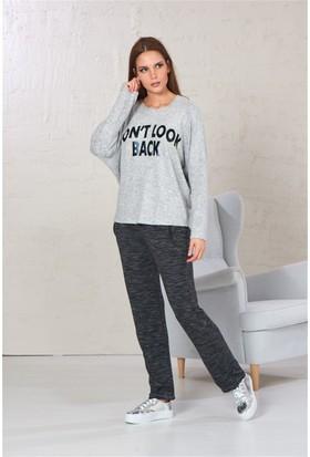 Gizzey Baskılı Bayan Yarasa Kol Pantolon Takım 20107