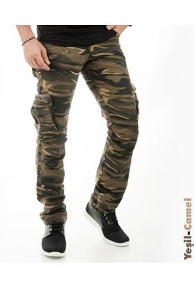 Deepsea Yeşil-Camel Yıkamalı Dar Kesim Askeri Erkek Kamuflaj Pantolon 1601194