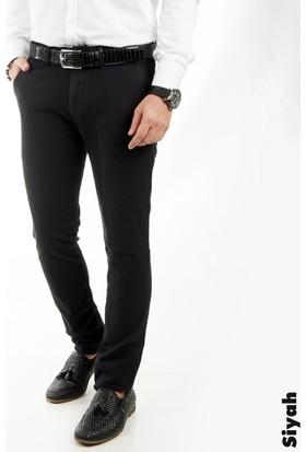 Deepsea Siyah Kendinden Desenli Spor Kesim Slimfit Erkek Keten Pantolon 1702560