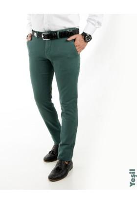 Deepsea Yeşil Kendinden Desenli Spor Kesim Slimfit Erkek Keten Pantolon 1702560