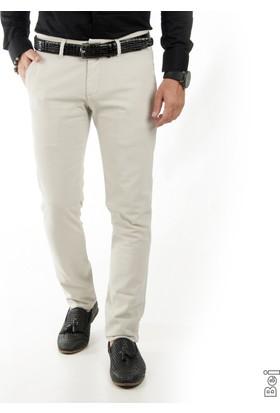 Deepsea Bej Kendinden Desenli Spor Kesim Slimfit Erkek Keten Pantolon 1702560