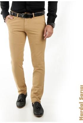 Deepsea Hardal Sarısı Kendinden Desenli Spor Kesim Slimfit Erkek Keten Pantolon 1702560