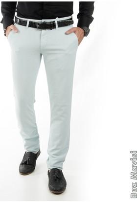 Deepsea Buz Mavisi Kendinden Desenli Spor Kesim Slimfit Erkek Keten Pantolon 1702560