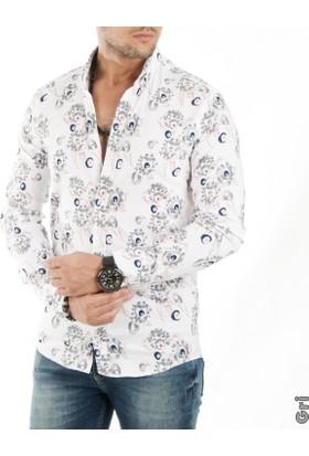 Deepsea Gri Çiçek İşleme Desenli Uzun Kollu Erkek Gömlek 1701320