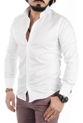 DeepSEA Siyah Kol Düğmeli Pamuk Saten Uzun Kollu Erkek Gömlek 1702025-002
