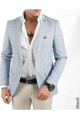 Deepsea İtalyan Kesim Kare Desenli Blazer Erkek Ceket 1760101