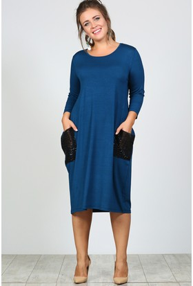 Trend Plus Büyük Beden Pul Payet Cep Salaş Elbise