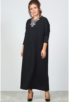 Trend Plus Büyük Beden Kol Manşetli Elbise
