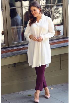 Trend Plus Büyük Beden Kapalı Pat Gömlek Tunik