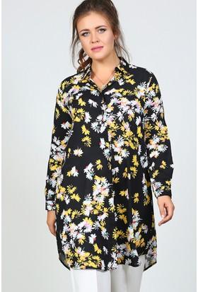 Trend Plus Büyük Beden Papatya Desen Gömlek Tunik