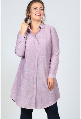 Trend Plus Büyük Beden Çizgili Gömlek Tunik
