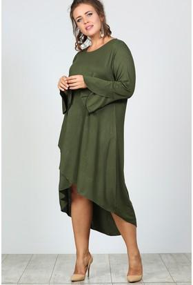 Trend Plus Büyük Beden Yırtmaç Kol Verev Etek Elbise