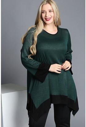 Trend Plus Büyük Beden Eteği Kontrast Volanlı Bluz