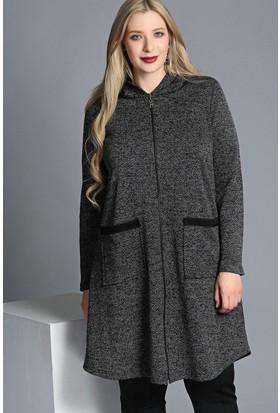 Trend Plus Büyük Beden Kapüşonlu Fermuarlı Ceket