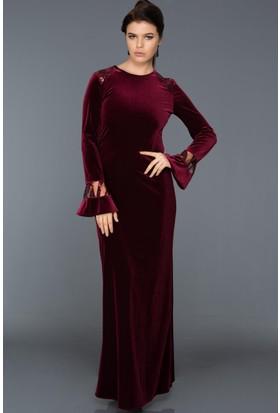 Burucline Kadın Omuz Ve Kol Pul İşlemeli Kadife Elbise Bordo 17-2B276031