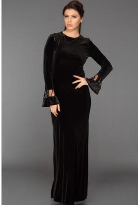 Burucline Kadın Omuz Ve Kol Pul İşlemeli Kadife Elbise Siyah 17-2B276031