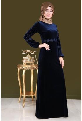 Burucline Kadın Sırtı Düğmeli Kol İnci Kadife Elbise Lacivert 17-2B276032