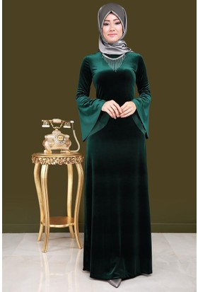 Burucline İspanyol Kol Kolyeli Elbise Koyu Yeşil 17-2B276026