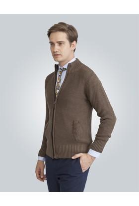 Tudors Kahverengi Basic Yün Erkek Hırka