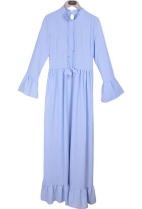 Burucline Kadın Etek Kol Fırfırlı Bağlamalı Elbise Mavi 17-1B409042
