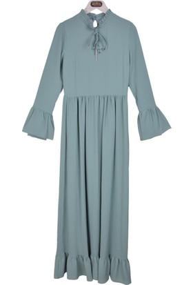 Burucline Kadın Etek Kol Fırfırlı Bağlamalı Elbise Yeşil 17-1B409042