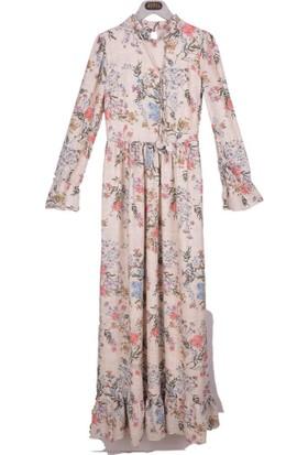 Burucline Kadın Çiçek Desenli Kol Etek Fırfırlı Elbise Bej 17-1B409048