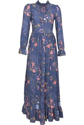 Burucline Kadın Çiçek Desenli Kol Etek Fırfırlı Elbise Lacivert 17-1B409048