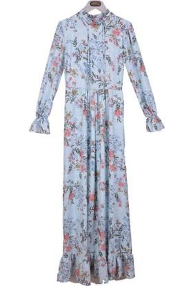 Burucline Kadın Çiçek Desenli Kol Etek Fırfırlı Elbise Mavi 17-1B409048