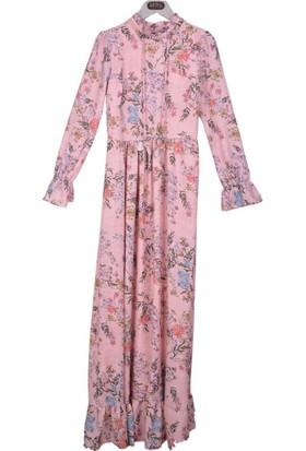 Burucline Kadın Çiçek Desenli Kol Etek Fırfırlı Elbise Pudra 17-1B409048