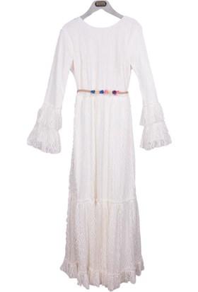 Burucline Kadın Kat Kat Dantelli Elbise Ekru 17-1B409049