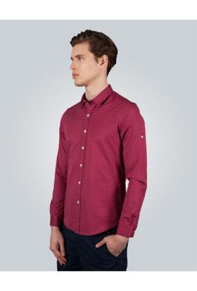 Tudors Slim Fit Kırmızı Baskılı Erkek Gömlek