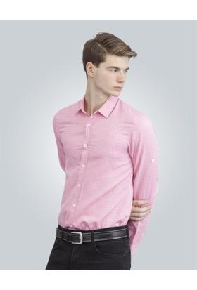 Tudors Slim Fit Baskılı Pembe Erkek Gömlek