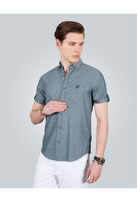 Tudors Slim Fit Kısa Kol Gri Erkek Gömlek